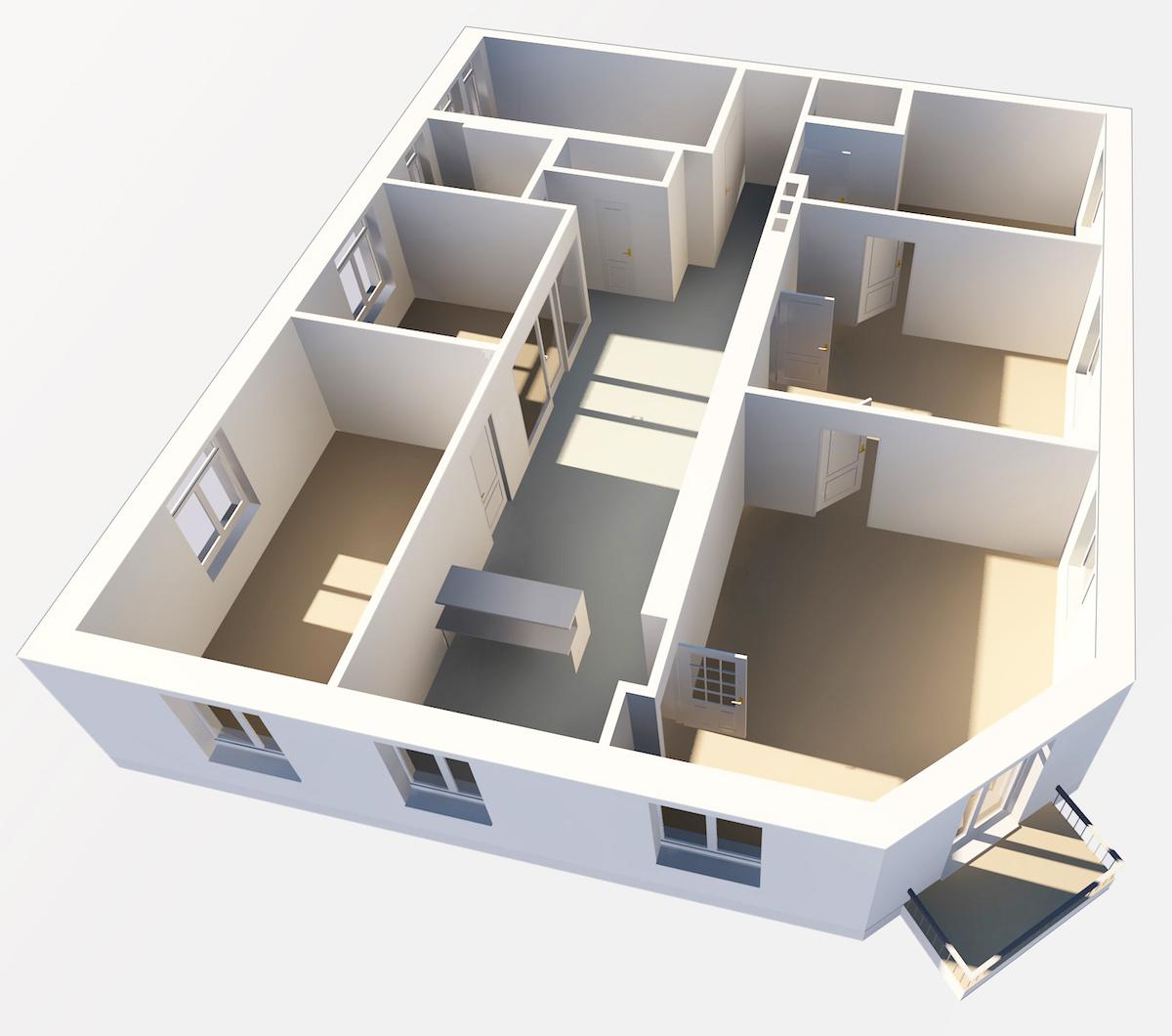 Stilvoller 3D-Grundriss